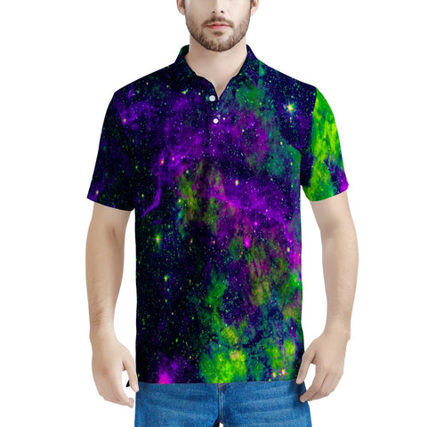 Green Galaxy - Men's All Over Print Polo Shirt