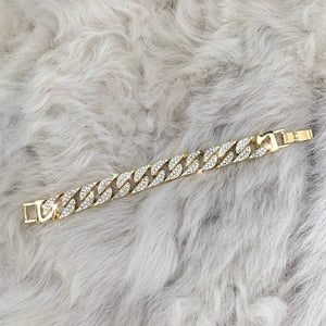gold iced out honey chunky chain bracelet blogger style