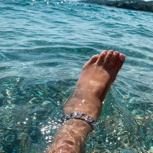 moonlight silved iced cuban chain anklet