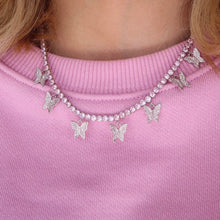 Load image into Gallery viewer, Annabella Pink Butterfly Tennis Chain