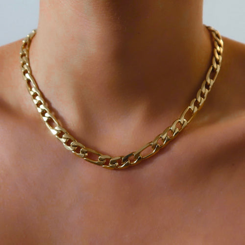 cara gold figaro necklace