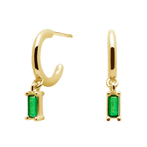 Emerald Sansa Gold Earrings