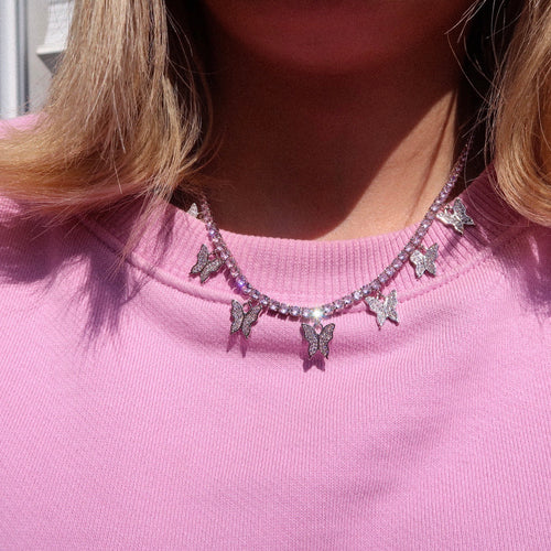 Annabella Pink Butterfly Tennis Chain