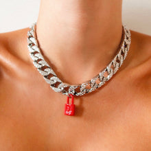 Load image into Gallery viewer, Red Dior Padlock Moonlight Iced Necklace