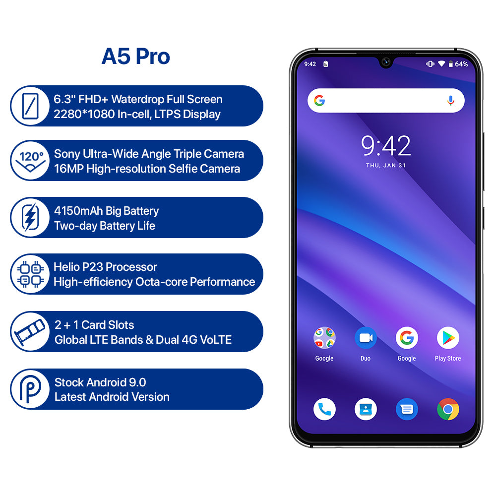 GLOBAL VERSION UMIDIGI A5 PRO ANDROID 9.0