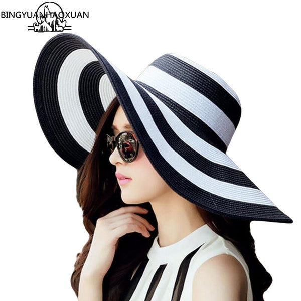Stunning Women's Straw Panama Sun Hat with Black Stripes