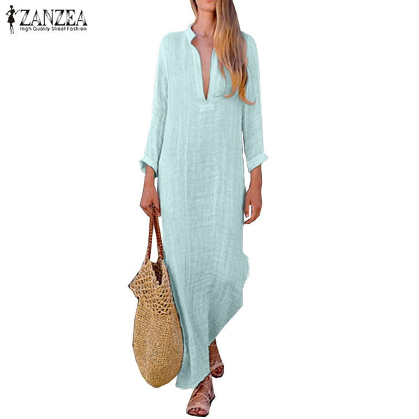 Women Deep V Neck Long Sleeve Dress Solid Maxi Kaftan