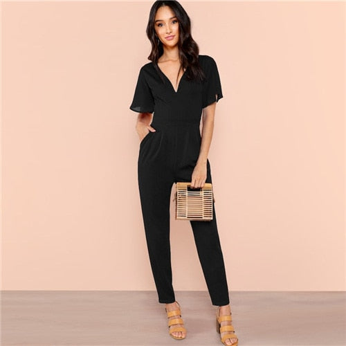 Black Flutter Sleeve High Waist Jumpsuits