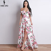 Stunning V-Neck Flower Print Dress Off Shoulder Backless Short Sleeve