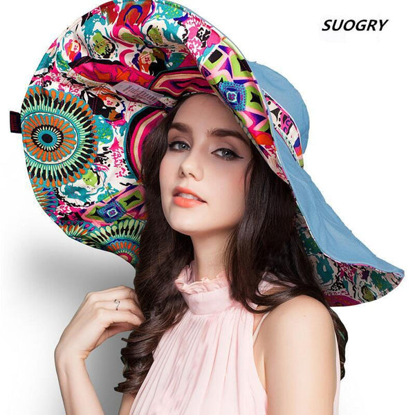 Flower design Foldable Brimmed Summer Sun Hat