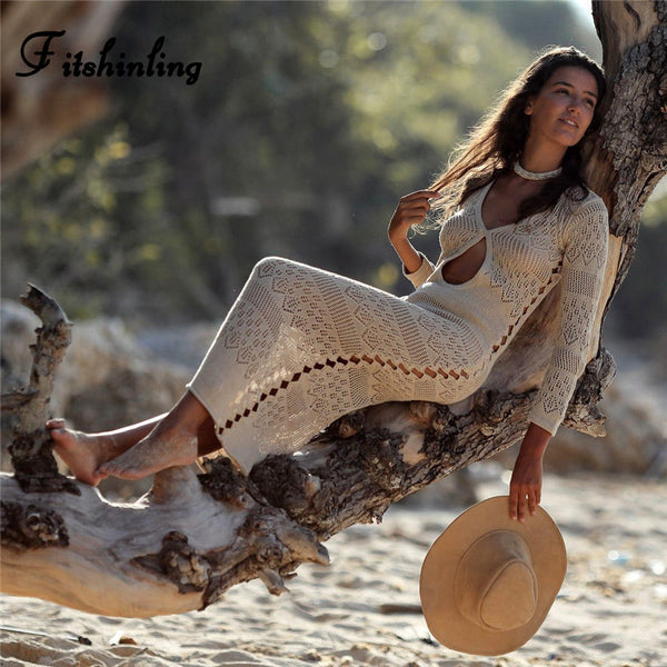 Bohemian knitted long beach dress