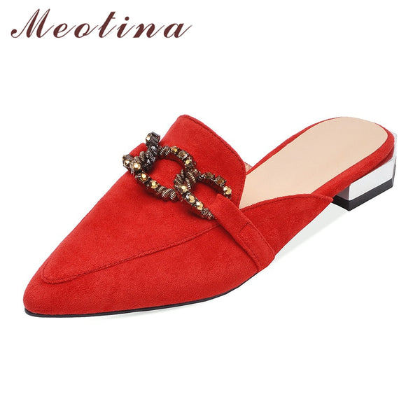 Summer Slippers with low heel and pointed toe