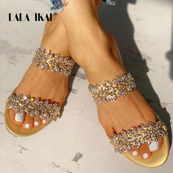 Ladies Crystal Bling Beach Slippers