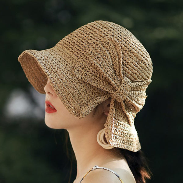 Wide Brimmed Raffia Bow Panama Foldable Hat