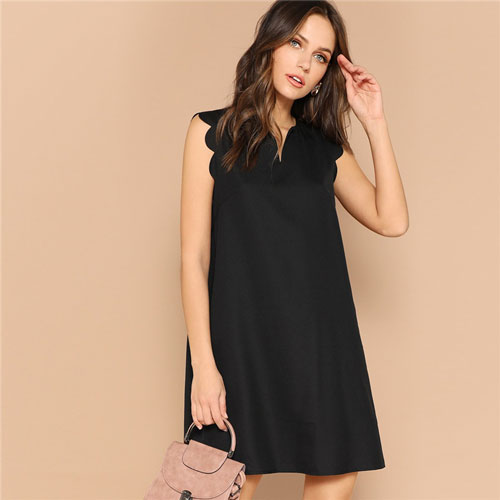 Ladys Solid V-Neck Scallop Trim Trapeze Mini summer Dress