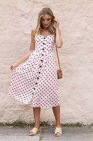 Striped Button Print Cotton Linen Casual Summer Dress