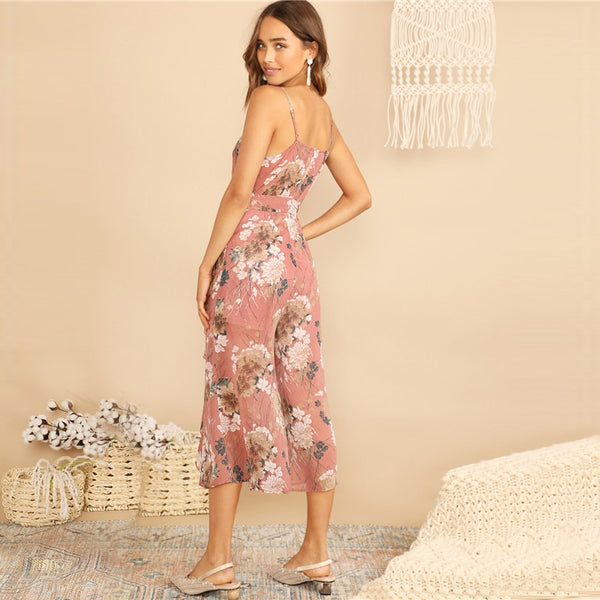 Boho Surplice Neck Botanical Ruffle Cami Wide Leg Jumpsuit
