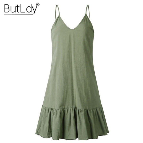 Hot Spaghetti Strap Womens cotton Pleated Summer Dress