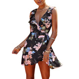 Bohemia Summer Beach Women Flower Print Mini Dress