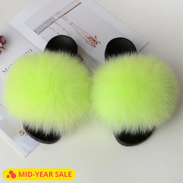Home Slippers with Fur Slides