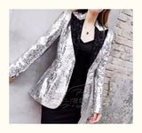 Women s Fashion Sequins Long Suit Jacket Slim  Night Club Coats