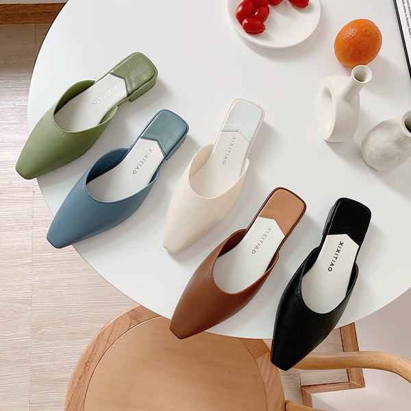 Fabulous Square Toe Mules Slippers