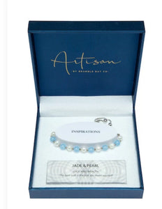 Jade Blue & Pearl Adjustable Bracelet (6mm bead)