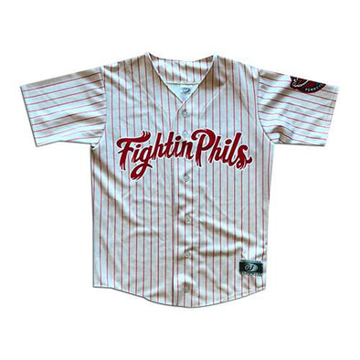 Reading Fightin Phils Youth Home Red Pinstripe Jersey