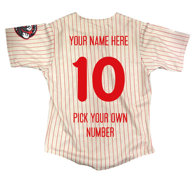 Personalized Reading Fightin Phils On Field Replica Adult Pinstripe Home Jersey