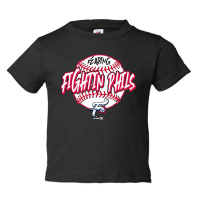 Toddler Black Reading Fightin Phils Baseball T-Shirt