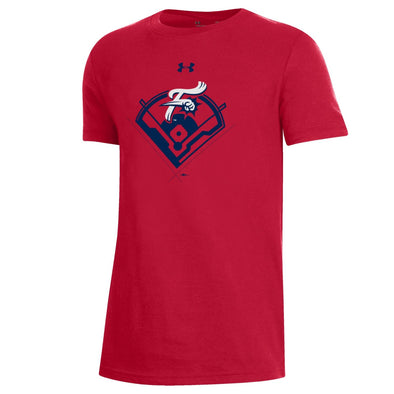 UA Youth Red Cotton Stadium Tee