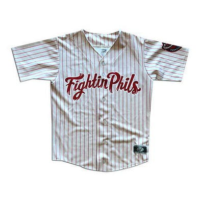 Reading Fightin Phils Adult Red Pinstripe Home Jersey