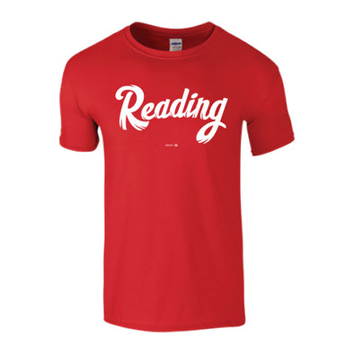 Red Reading Script Tee