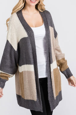 Colorblock Cardigan-Plus