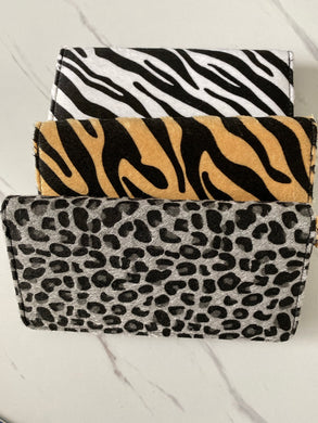 Faux fur animal print wallets