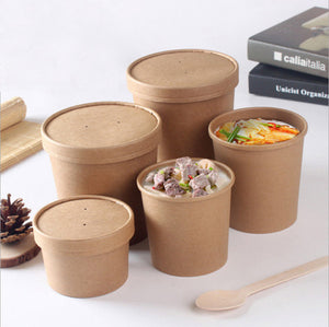 Craft Paper Soup Cup with Lid
