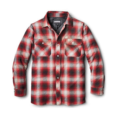 key features Men's Insulated Long Sleeve Cotton Flannel Plaid Work Shirt Jacket With Snap Front And Quilted Lining - Red/Black Plaid