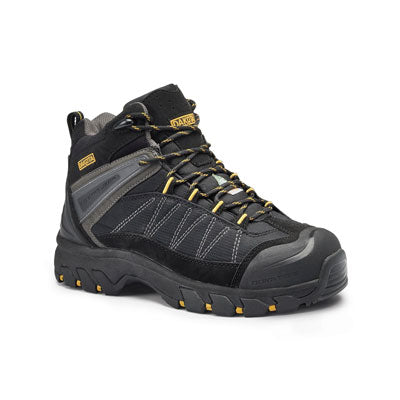 key features Men's Mid Cut Hiking Style Leather Safety Work Boots Steel Toe Plated with Anti Slip Soles - Black
