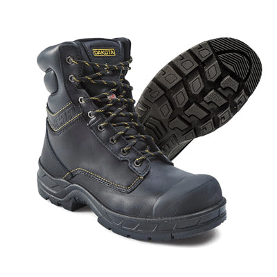 key features Men's 877 8 Inch Insulated Leather Safety Work Boots Steel Toe Plated With Anti-Slip Soles - Black
