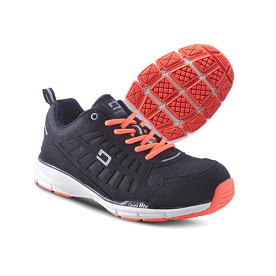 key features Women's Athletic Work Shoes Aluminium Toe Plated & Breathable - Black/Orange