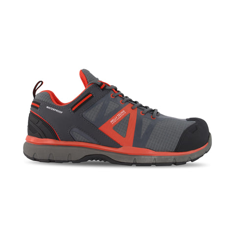 Men's Waterproof Leather Athletic Safety Work Shoes Composite Toe With Anti-Slip Soles - Gray/Orange