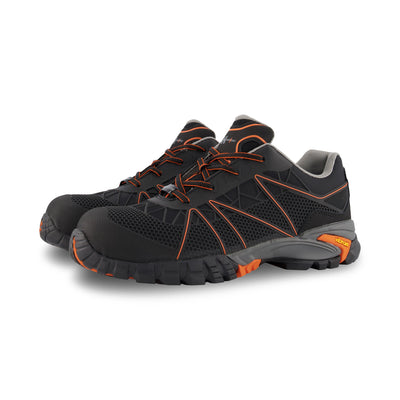 key features Men's Terreng Hiking Style Safety Work Shoes Composite Toe Plated With Anti-Slip Soles - Black/Orange