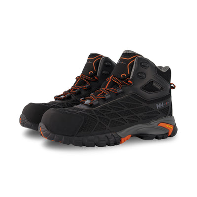 key features Men's Terreng 6 Inch Waterproof Hiking Style Safety Work Boots Composite Toe With Anti-Slip Soles - Black/Orange