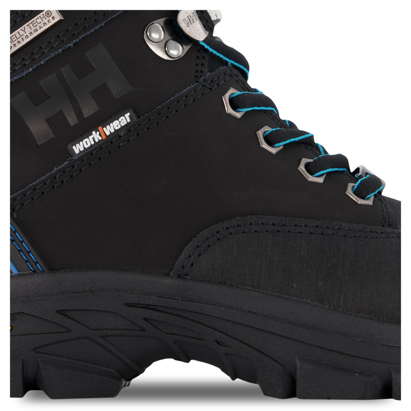 Women's Bergen 6 Inch Waterproof Leather Safety Work Boots Composite Toe With Anti-Slip Soles - Black/Blue