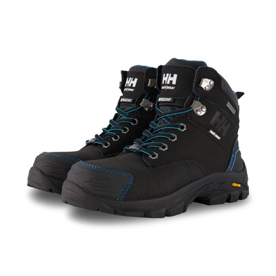 key features Women's Bergen 6 Inch Waterproof Leather Safety Work Boots Composite Toe With Anti-Slip Soles - Black/Blue