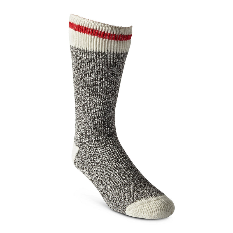 Men's Reinforced Thermal Insulated Outdoor Work/Hiking Boot Socks for Cold Weather - Charcoal Melange/Red Stripe