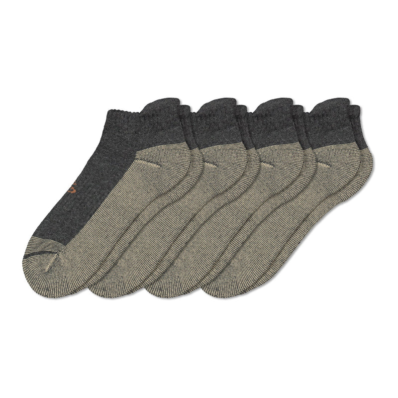 Men's Cotton Blend Athletic/Sport Ankle Tab Sock with Moisture Wicking and Odor Protection (4-Pack) - Gray