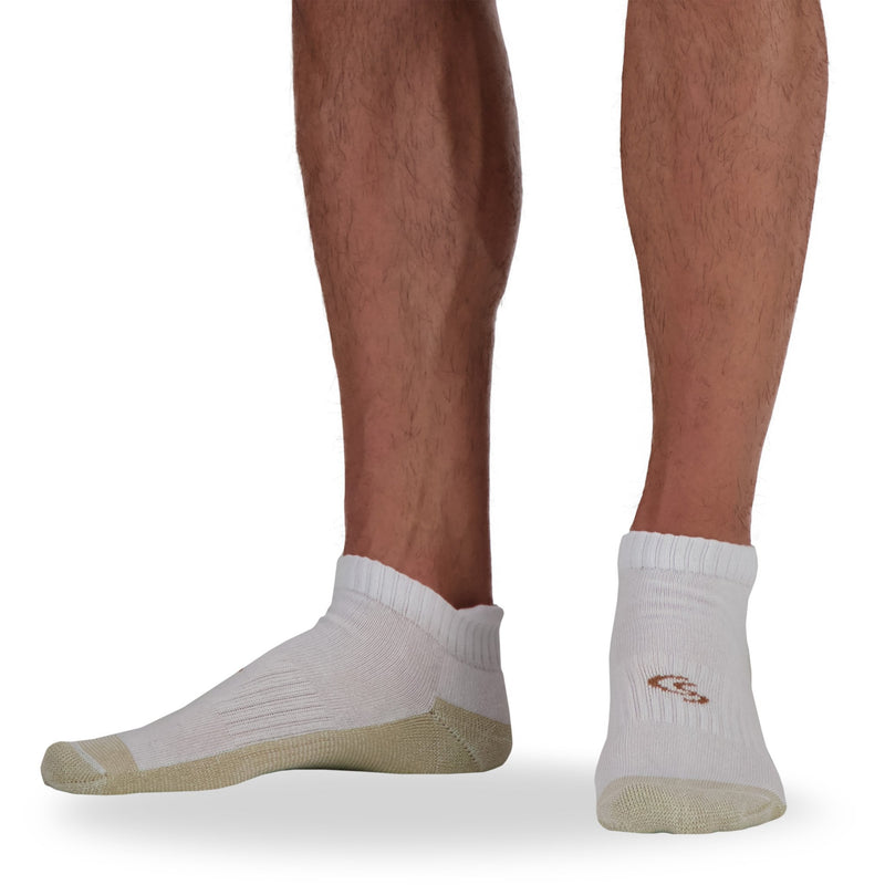 Men's Cotton Blend Athletic/Sport Ankle Tab Sock with Moisture Wicking and Odor Protection (4-Pack) - White
