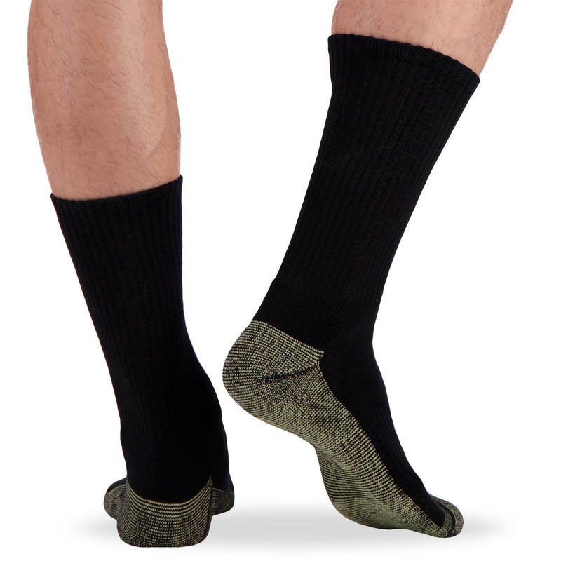 Men's Cotton Blend Athletic/Sport Crew Socks with Moisture Wicking and Odor Protection (4-Pack) - Black
