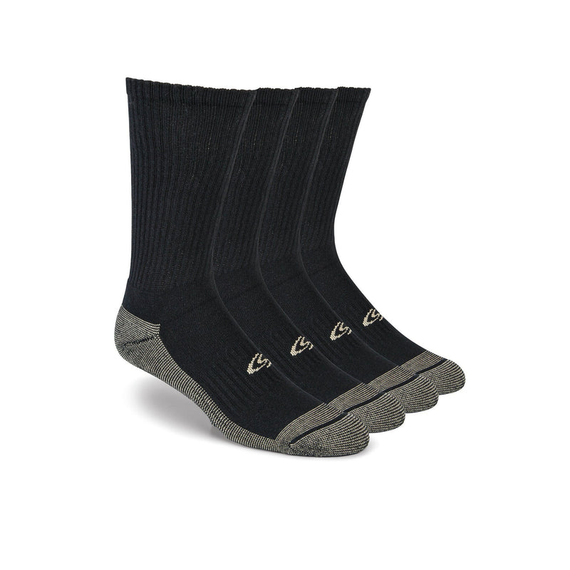 Men's 4-pack moisture control work crew socks with odor protection- Black